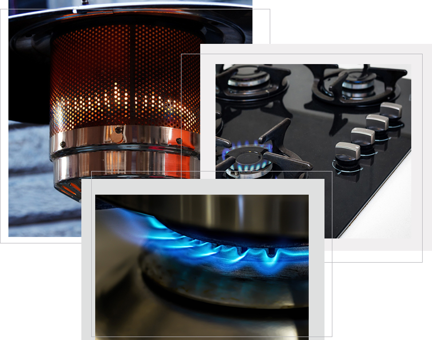 3 images of patio heater flame, and blue gas burner flames