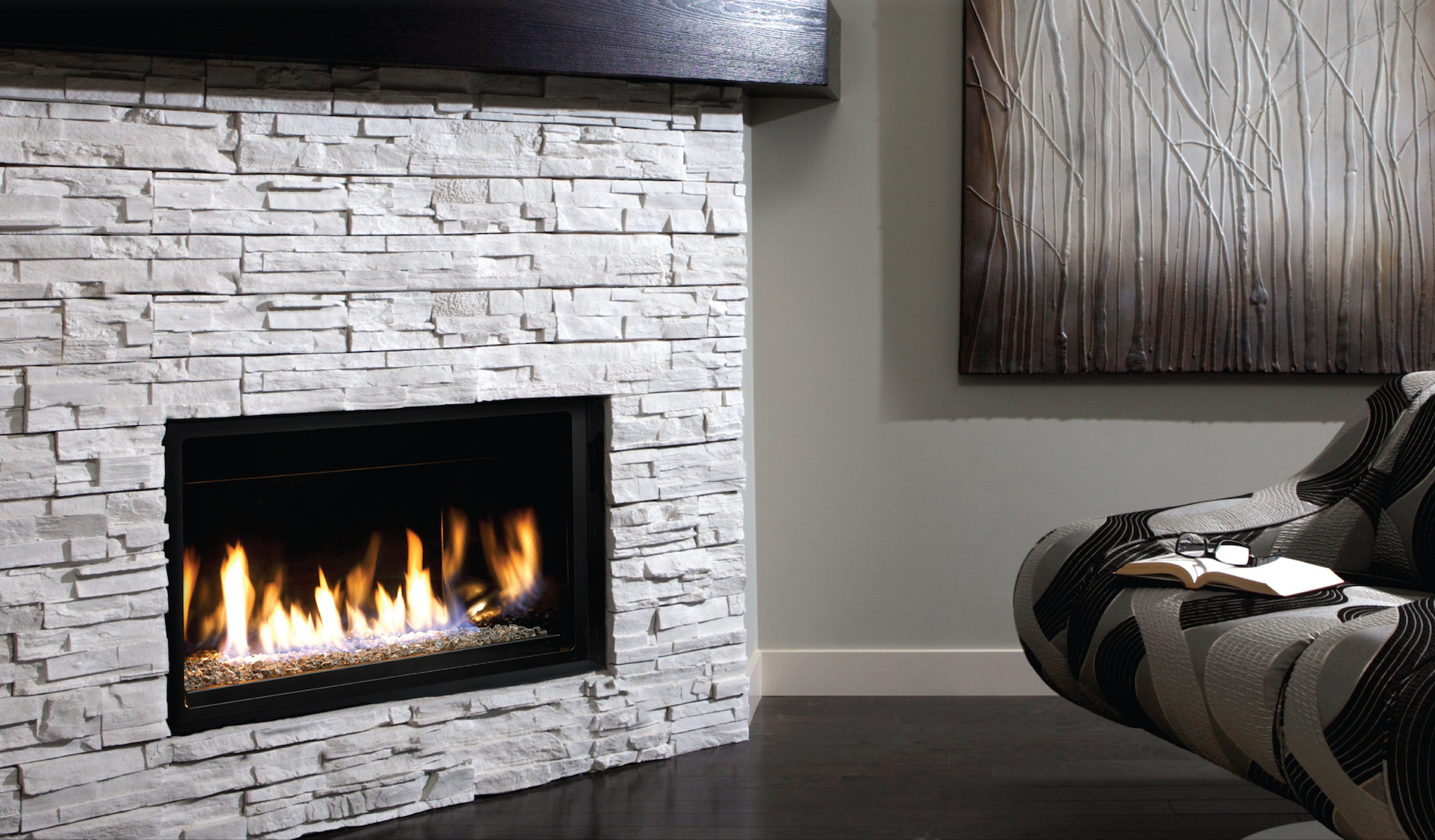 a modern living room with a fireplace