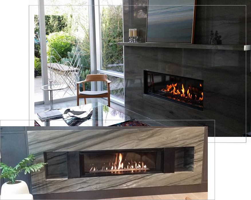 2 modern gas lit fireplaces