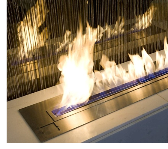 modern gas fireplace with flame