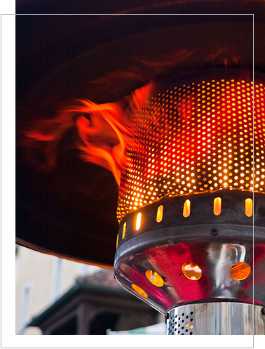 flames coming thru the gas patio heater