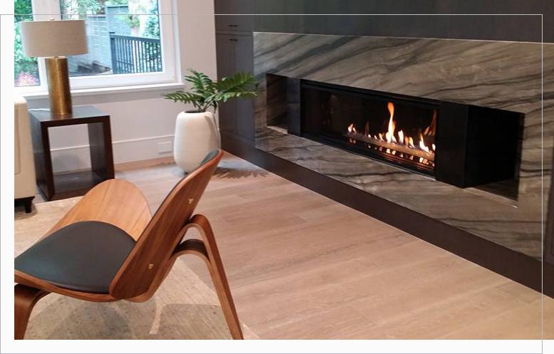 Modern burning gas fireplace in the livingroom
